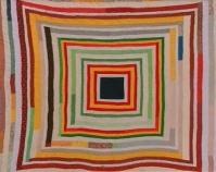 "Housetop Lucy T. Pettway c. 1970 Cotton, cotton blend 76"" x 80"" From Gee's Bend: The Architecture of the Quilt Paul Arnett, Tinwood Books, 2006  Courtesy of Matt Arnett Photo by Pitkin Studio"