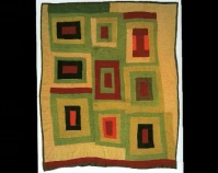 "Housetop Lola Pettway 1970s Corduroy 89"" x 74"" From Gee's Bend: The Architecture of the Quilt Paul Arnett, Tinwood Books, 2006  Courtesy of Matt Arnett Photo by Pitkin Studio"