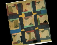 "Housetop Variation Martha Pettway 1930s Cotton 80"" x 73\"" From Gee\'s Bend: The Architecture of the Quilt Paul Arnett, Tinwood Books, 2006  Courtesy of Matt Arnett Photo by Pitkin Studio"