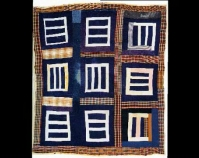 "Housetop – nine block variation Mary L. Bennett c. 1975 Cotton, denim, cotton/polyester blend, cotton knit 87"" x 77\"" From The Quilts of Gee\'s Bend Tinwood Books, 2002 Courtesy of Matt Arnett"