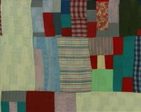 "Blocks and One Patch, two-sided quilt  Essie Bendolph Pettway 1973 Cotton, polyester knit, denim 88"" x 80\"" From The Quilts of Gee\'s Bend Tinwood Books, 2002 Courtesy of Matt Arnett"