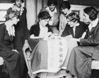 Sewing stars on suffrage flag 1920 Library of Congress Prints & Photographs Division  National Photo Company Collection Washington, D.C. Item number LC-DIG-npcc-01204 www.loc.gov/pictures