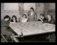 Historic photograph of a group of women quilting In upcoming book by Janet E. Finley Schiffer Publishing, Atglen, Pennsylvania; late 2012 Collection of Janet E. Finley