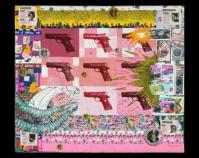 "Guns Are Us, Funerary Piece Three Kathy Weaver Fiber, Xeroxed, painted 47"" x 54"" www.kweaverarts.com"