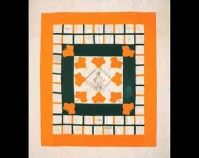 "Presentation Quilt By the members of The Young L adies Sew i ng Society for Susan Elizabeth Daggett 1871 Cotton 68 "" x 76 "" Photo by Geoffrey Carr Formerly in the collection of Shelly Zegart Collection of The Art Institute of Chicago Chicago, Illinois www.artic.edu/aic/collections/artwork/categ ory/40"