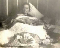Historic photograph of a wom a n in bed covered with a quilt In upcoming book by Janet E. Finley, Schiffer Publishing, Atgle n, Pennsylvania; late 2012 Collection of Janet E. Finley