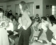 Photograph from a lecture Shelly Zegart archives