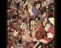 "Crazy Quilt Lizzie Hollinger 1885 Silk, velvet 86 "" x 103 "" Photo by Geoffrey Carr Formerly in the collection of Shelly Zegart"