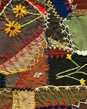 Wool Crazy Quilt (detail), c. 1900, unknown maker, Eastern United States