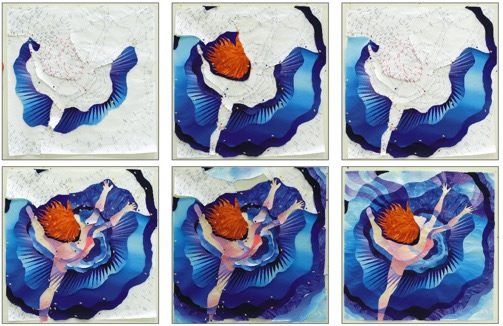 Dancing through the Blues - Work in Progress - by Caryl Bryer Fallert Gentry